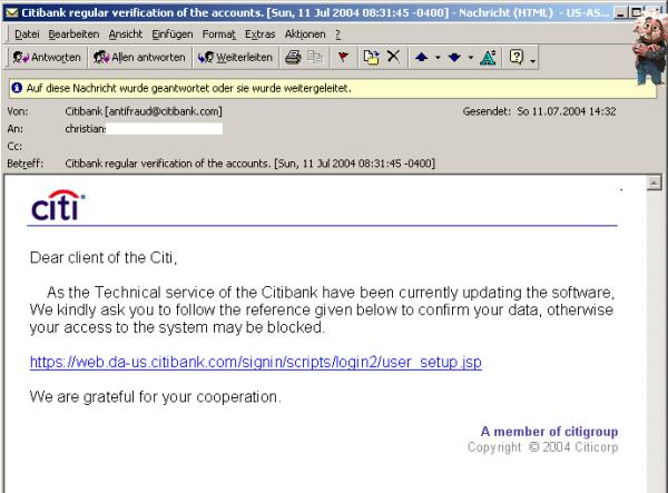 Screenshot einer Phishing-E-Mail, die sich für eine Citibank-Anfrage ausgibt und zu einer      gefälschten Website umleitet