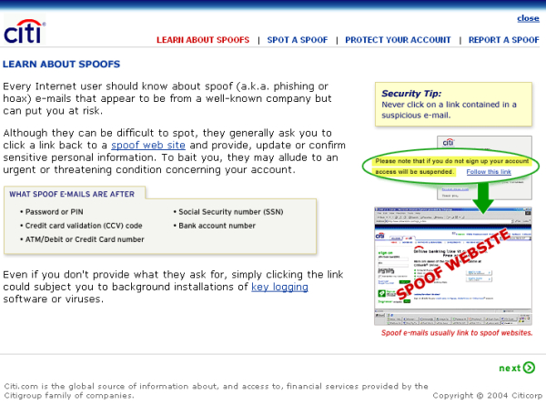 Screenshot eines Hinweises auf Daten-Phishing auf der Homepage der Citi-Bank